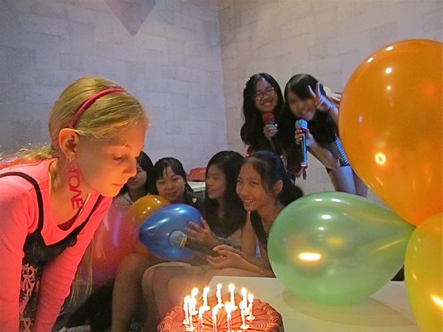 cake, candles, balloons, friends and wishes!