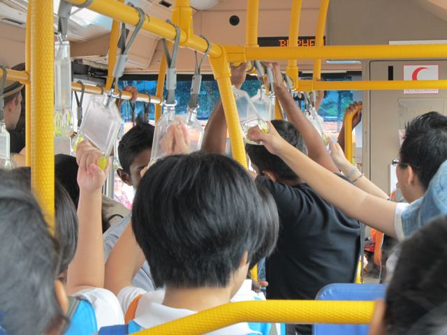 Hard on school kids to stand on crowded, lurching buses, but very hard on elderly who have to stand