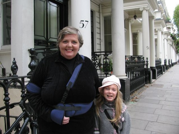 travel while recovering from surgery- I look happy and was, but I was quite fragile , couldn't take the tube or use a tub