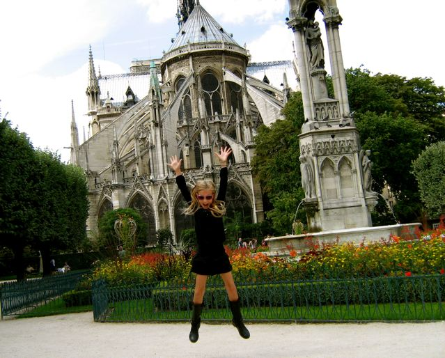 jumping for joy in Paris