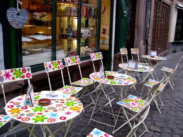 cute sidewalk or outdoor cafe in Europe