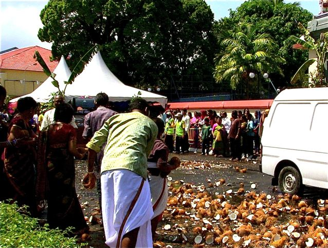 Thaipusam coconuts on street