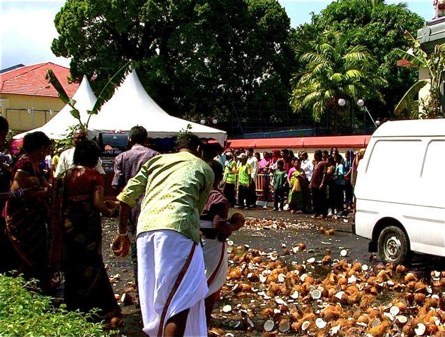 Thaipusam coconuts on street