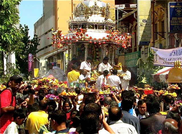Thaipusam Penang with silver chariot and offerings