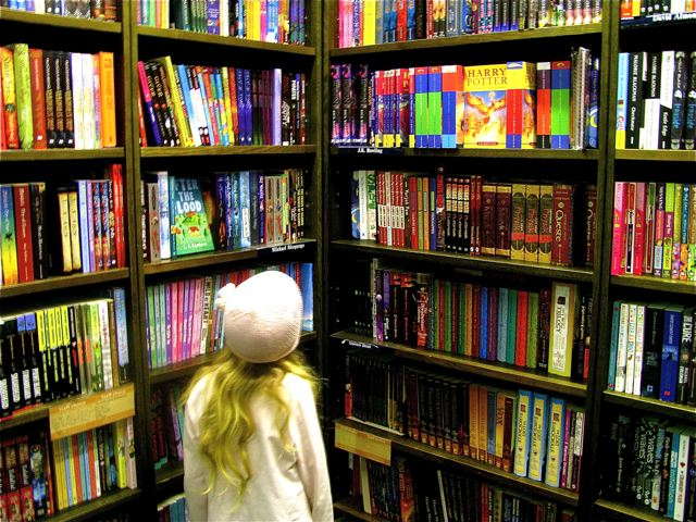 Tips on raising a reader and book lover like our young girl in London bookstore