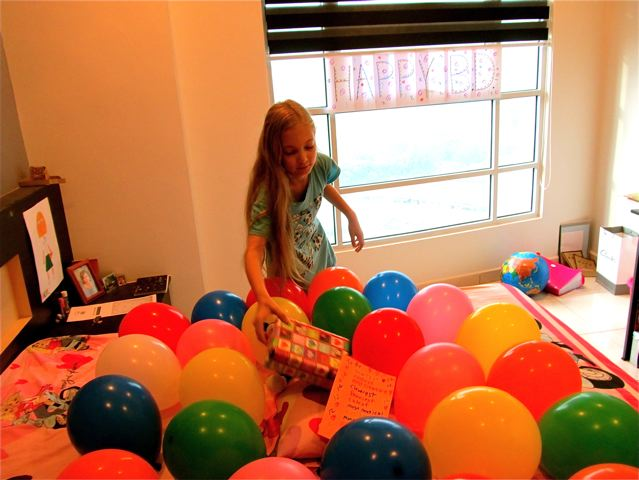 birthday balloons and surprise