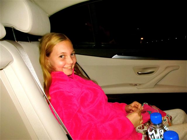 Happy kid on first limo ride on RTW trip