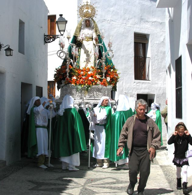 Travel to Spain with kids - learning history through festivals in white village