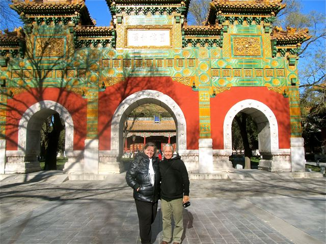 happy couple touring Beijing with daughter in Mandarin school for language immersion
