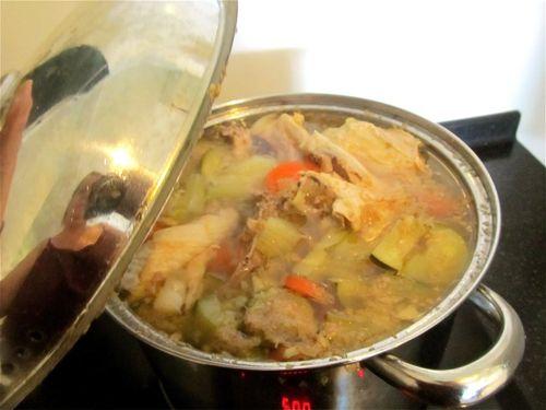 Yum! Simmering homemade healthy bone broth