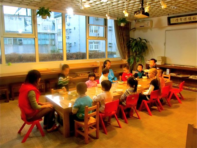 chinese school dining room for kids