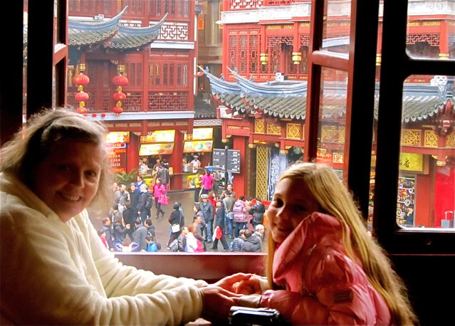 Oldest tea house in Shanghai with mom and daughter