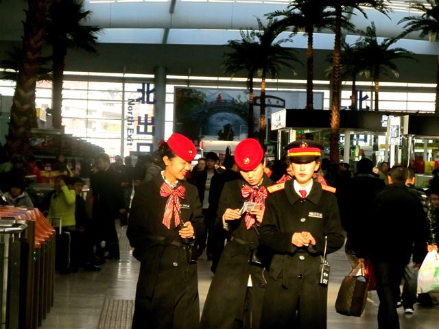 fast train Beijing south to Shanghai - beautiful attendants