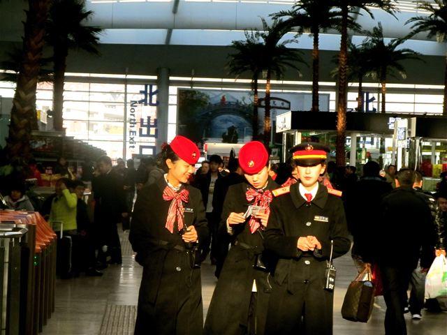 fast train Beijing south to Shanghai - beautiful attendants