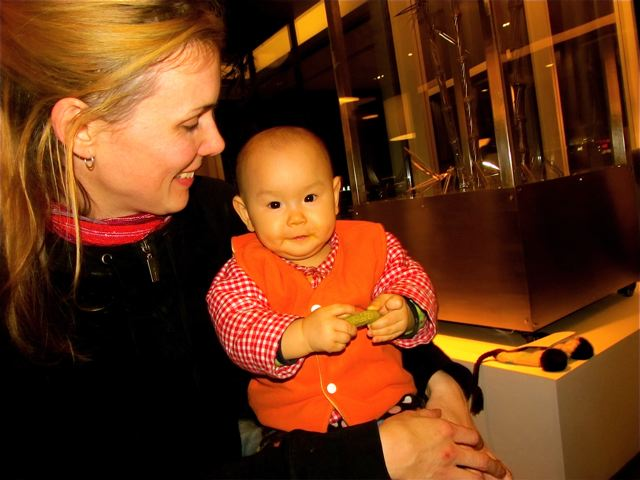 Mom and baby enjoying pickle