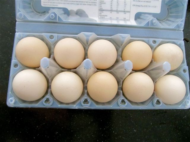 eggs in asia come in 10's not dozen and we recycle/reuse containers