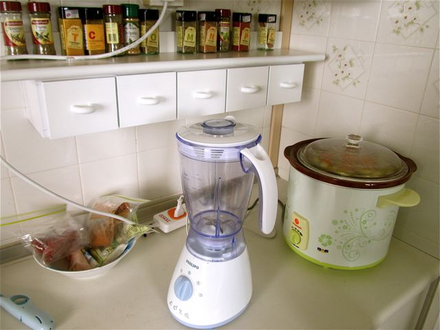 blender, crock pot and spices