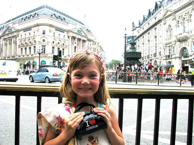 "London with Kids! This girl still loves her ""I love London"" purse souvenir"