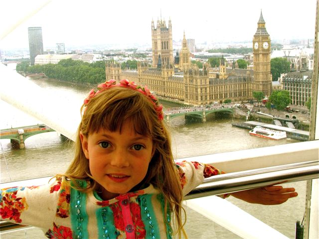 London eye view - Our girl taking it all in
