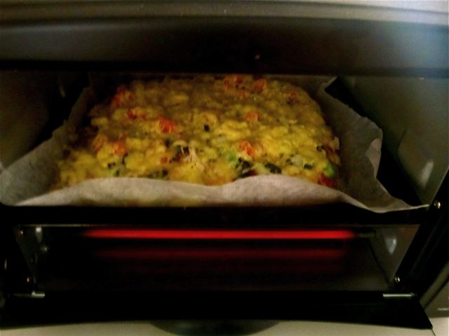 homemade thick crust healthy pizza in the oven