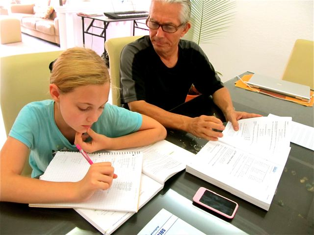 Homeschooling algebra and geometry with Dad