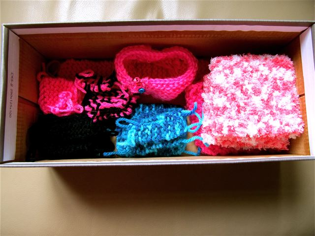 knitting box filled with newly made creations= homeschool fun