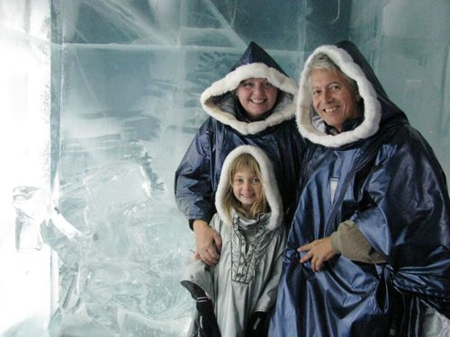 family travel fun - dressing up at the ice bar in Stockholm