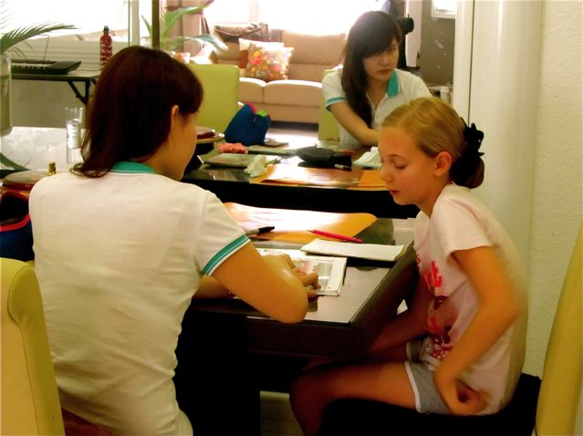 homeschooling in Asia with her Chinese tutor