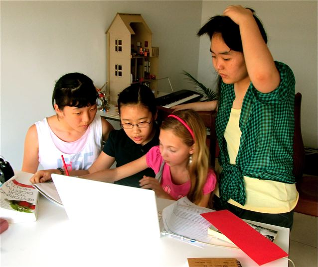 Doing a group project with Chinese school friends