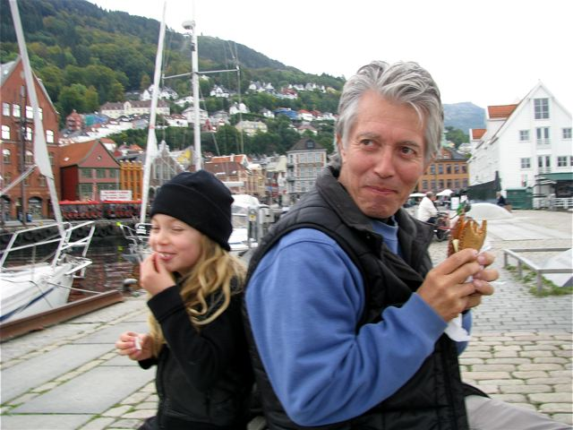 traveling dad and daughter sharing  a laugh in Norway