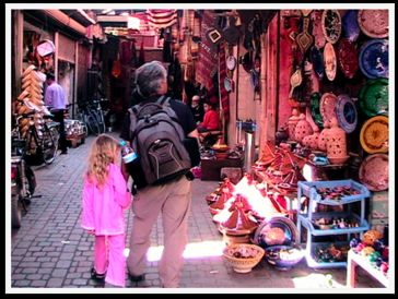 Dad and Daughter shopping in Morocco