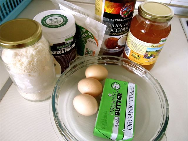 gathering ingredients for healthy, easy, delish chocolate cake