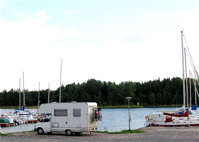 Camping in Europe in an RV- right on the water in Sweden