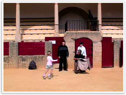 My family playing at the oldest bullring in Spain