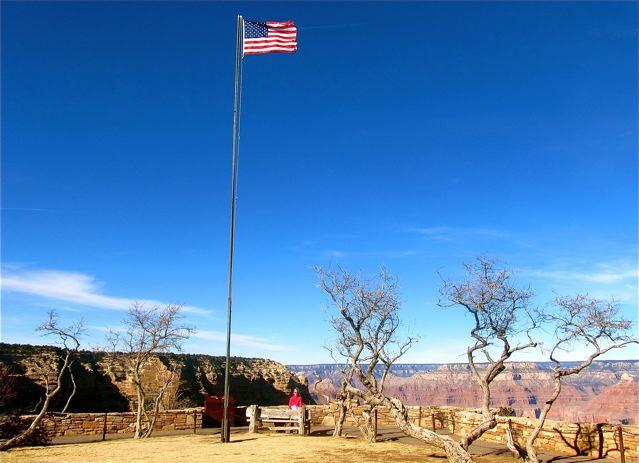 Grand Canyon and USA flag south rim photo