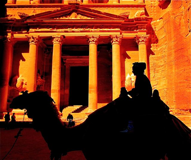 Travel tween Mozart exploring Petra by Camel - homeschooling around the world