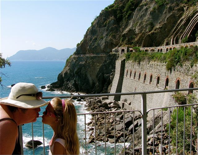 Celebrating Mothers! Mom and Mozart kissing in Cinque Terre, Italy