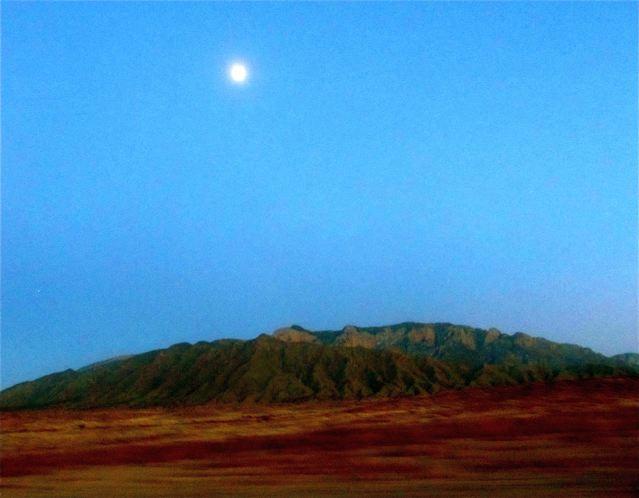 Santa Fe landscape and full moon