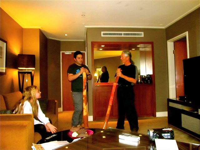 learning didgeridoo at Four Seasons Sydney with Gifts of the Quay store owner and master didge  player