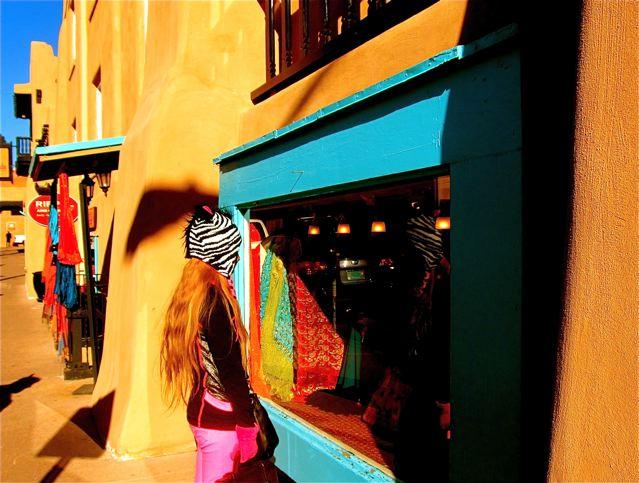 travel teen Mozart loving window shopping in Santa Fe