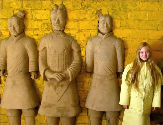 Mozart, travel tween, learning about Terra Cotta Army in Xi'an China - middle school meanderings