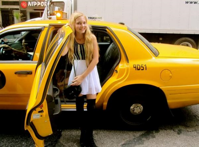 Singer Mozart leaving a Taxi in NYC arriving at New York Fashion Week runway show