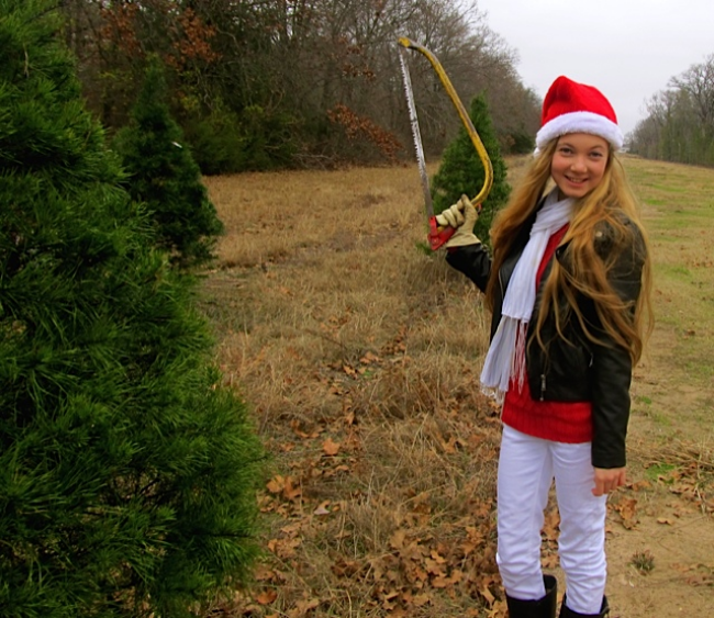 Chopping down your own Christmas tree  with a teen