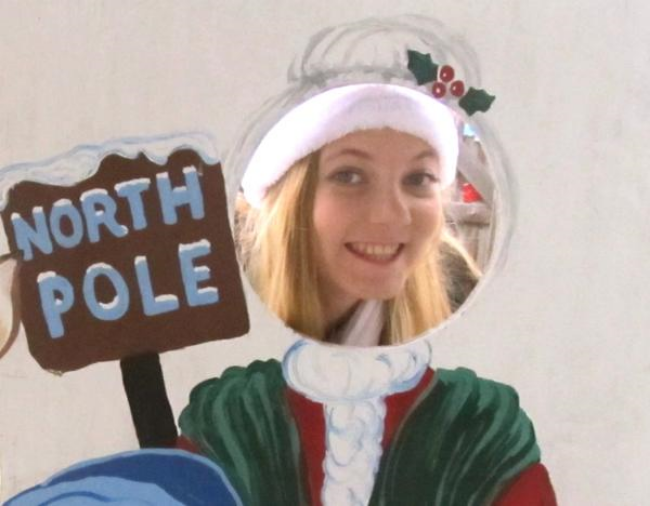 Teen singer Mozart playing Mrs Santa Clause at the North Pole