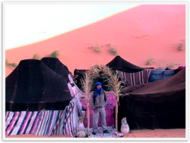 Camping over night in a Berber tent in the Sahara