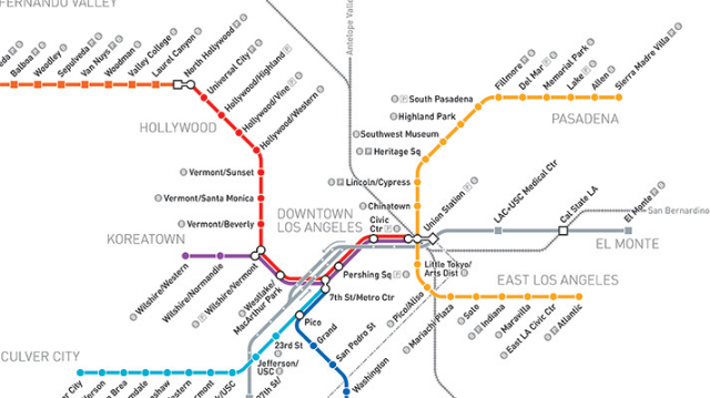 metro rail map for Los Angeles