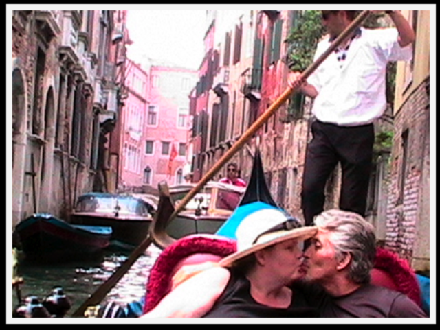 romantic Venice kiss in a gondola