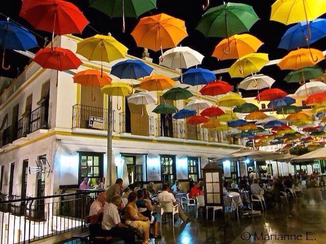 La Casa in Torrox Pueblo where Mozart will perform under colorful umbrellas