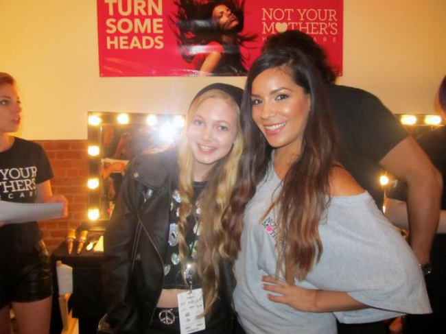 travel teen and singer Mozart backstage at New York Fashion Week with NYMBrand lead stylist Michele
