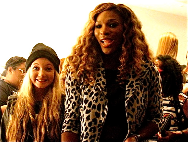 Trilingual travel teen and singer Mozart with U.S. Open Tennis winner Serena Williams  backstage NYFW